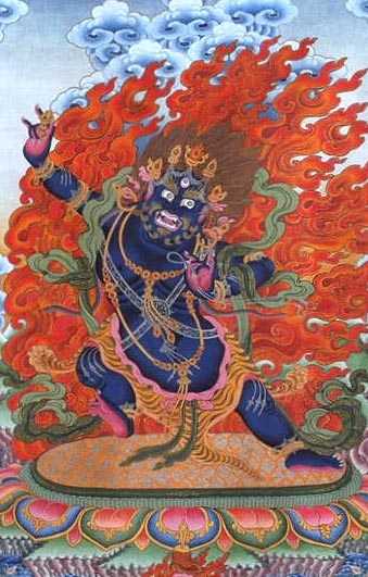 Vajrapani in his fierce form symbolizing destruction of desire