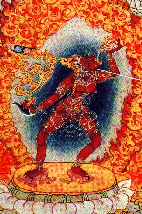 Vajrayogini drinking and transforming the negative karma of her devotees
